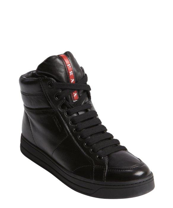 black leather prada shoes