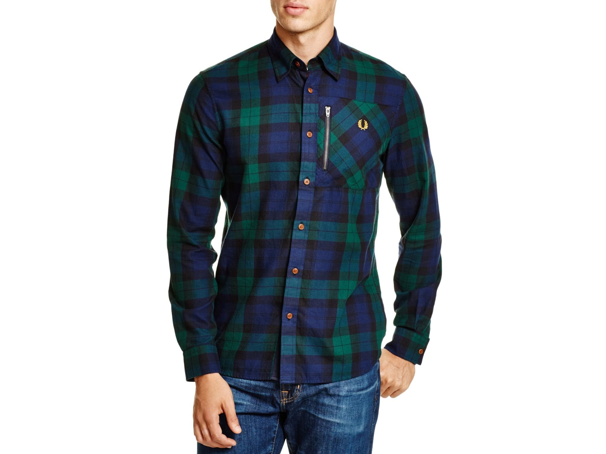 Lyst Fred Perry Zip Pocket Black Watch Regular Fit