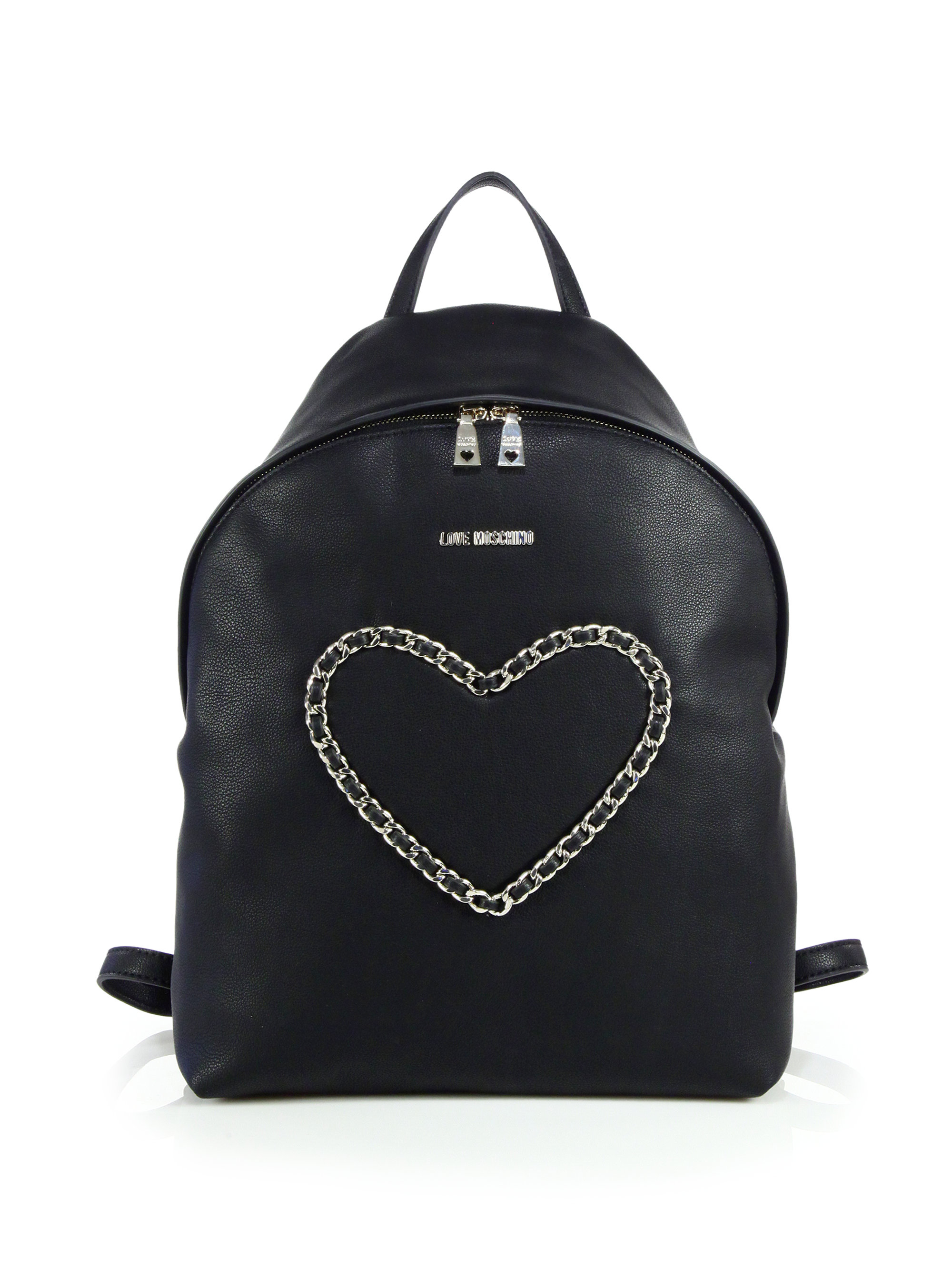 love moschino chain heart faux leather backpack in black. Black Bedroom Furniture Sets. Home Design Ideas