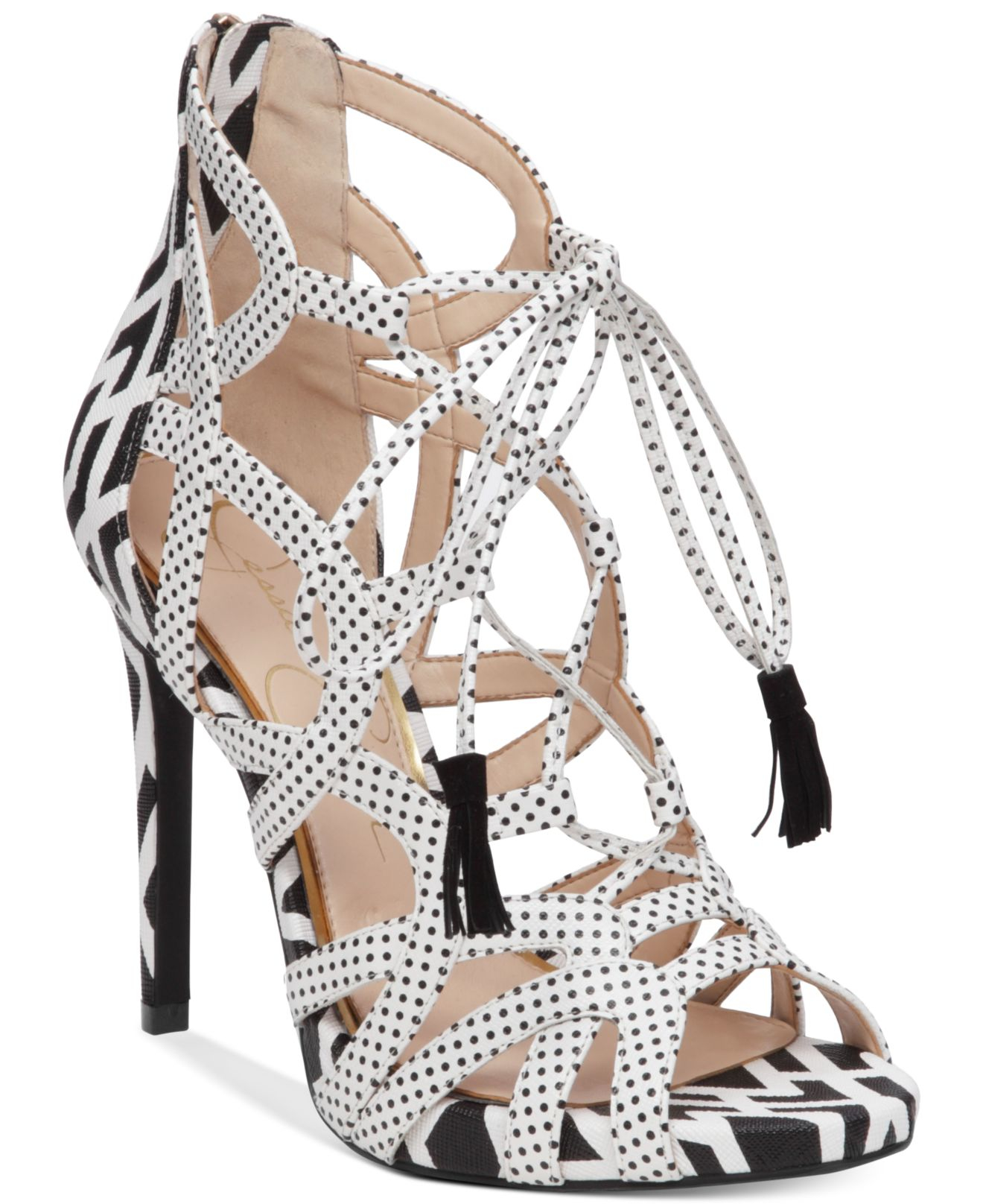 d454a81e41d Lyst - Jessica Simpson Racine Lace-up High-heel Gladiator Sandals in ...