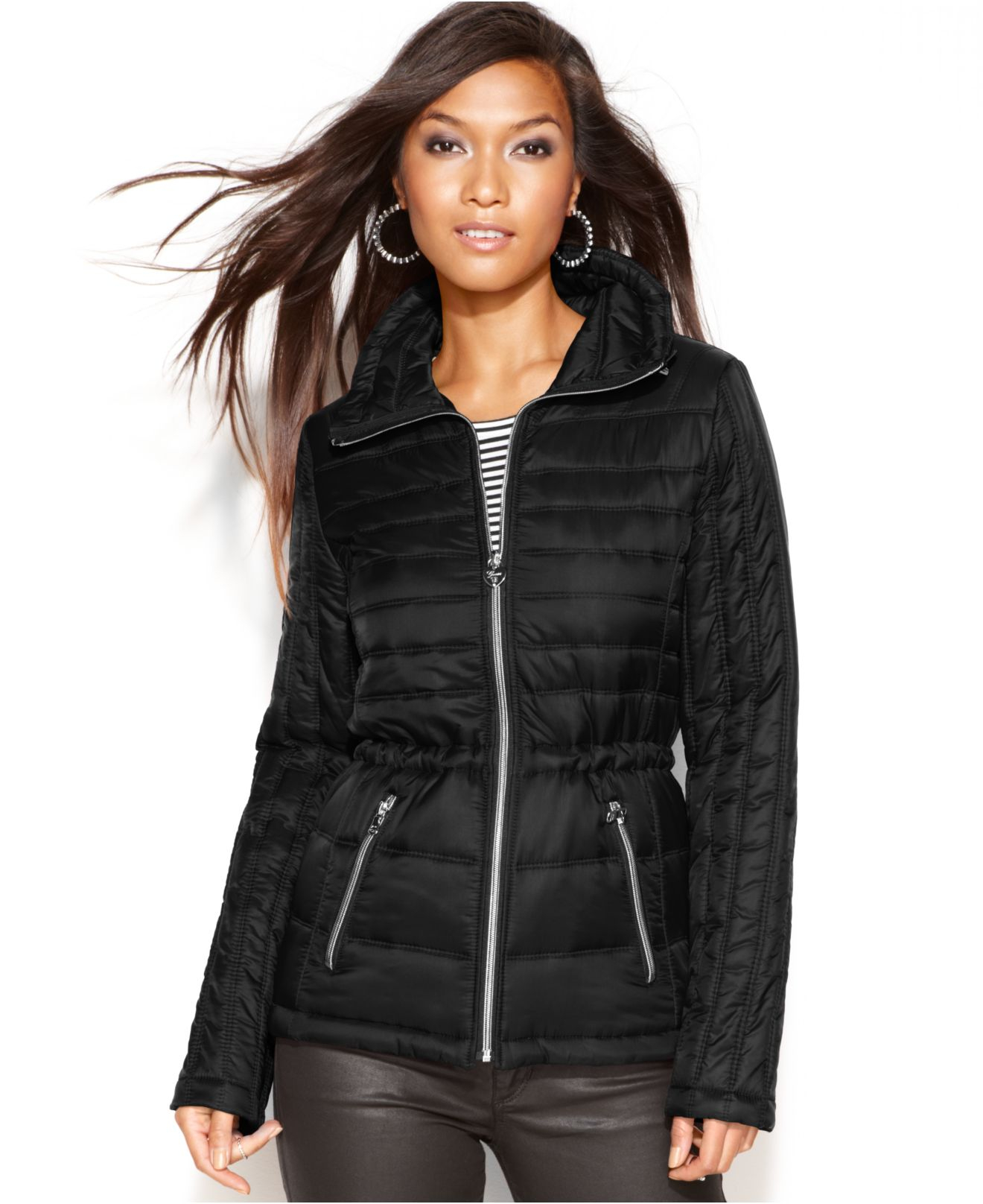 Lyst Guess Quilted Packable Puffer In Black