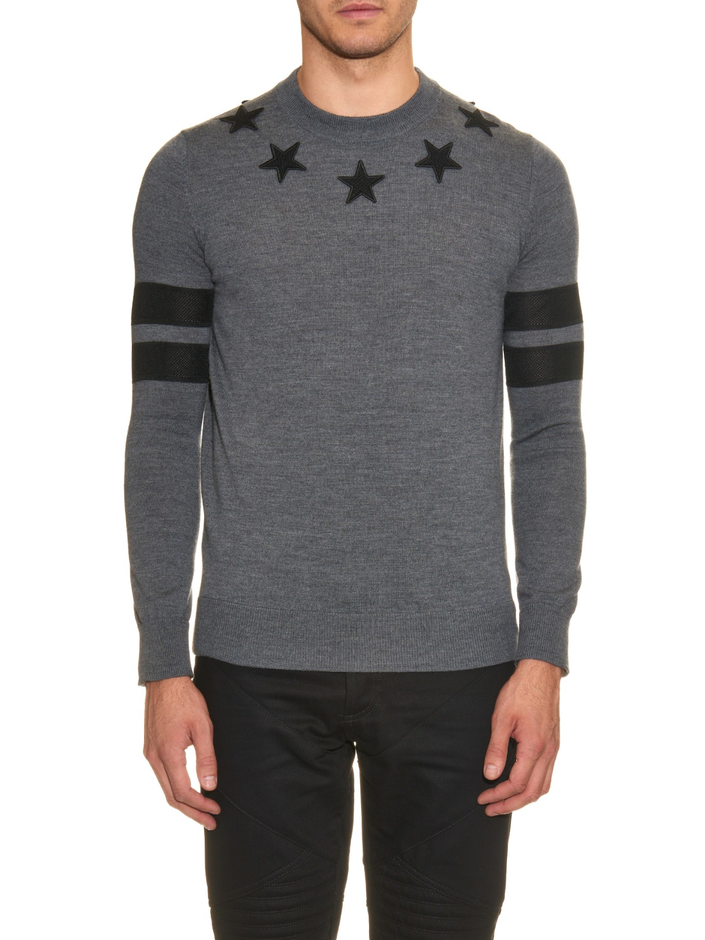 Lyst - Givenchy Star-patch Wool-knit Sweater in Gray for Men e3d007963a5f