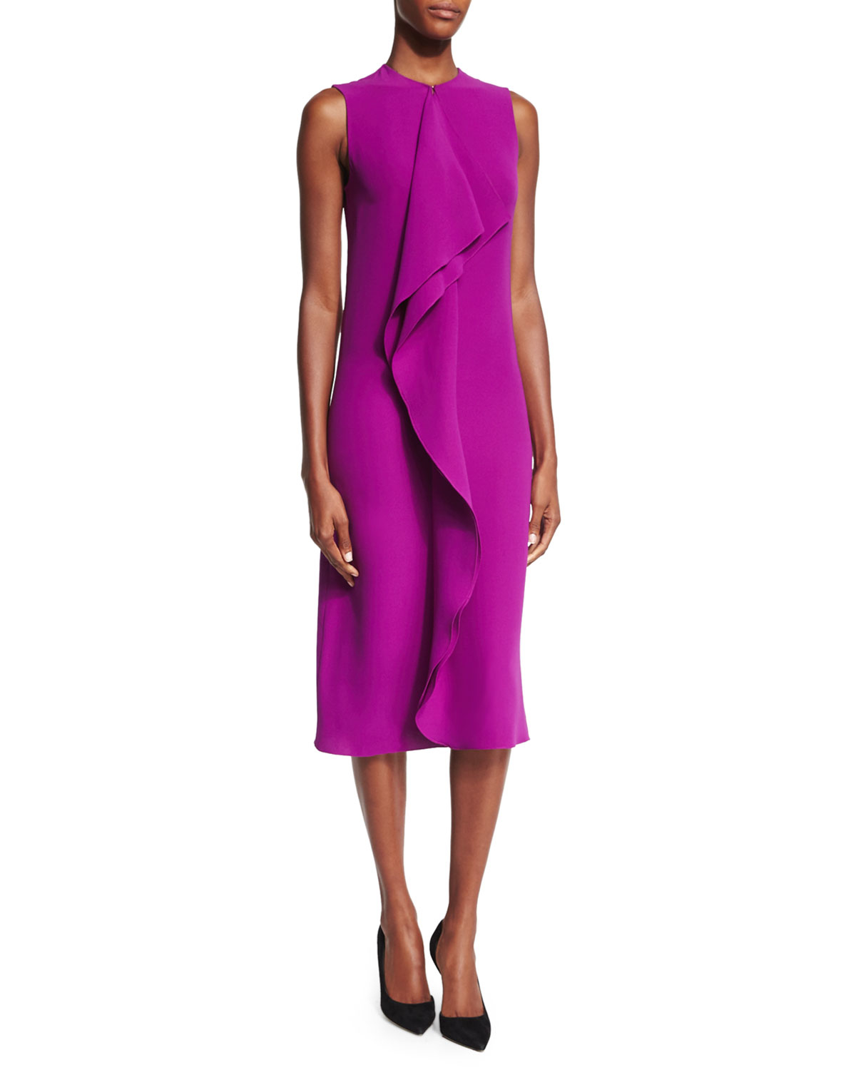 Pink pony ruffle front sheath dress in purple berry lyst for Neiman marcus dresses for wedding guest