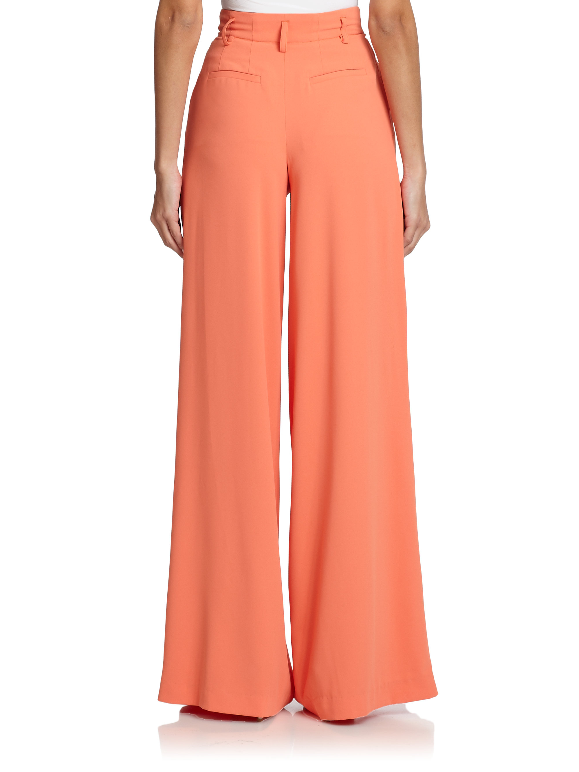 Alice   olivia High-Waisted Wide-Leg Pants in Pink | Lyst