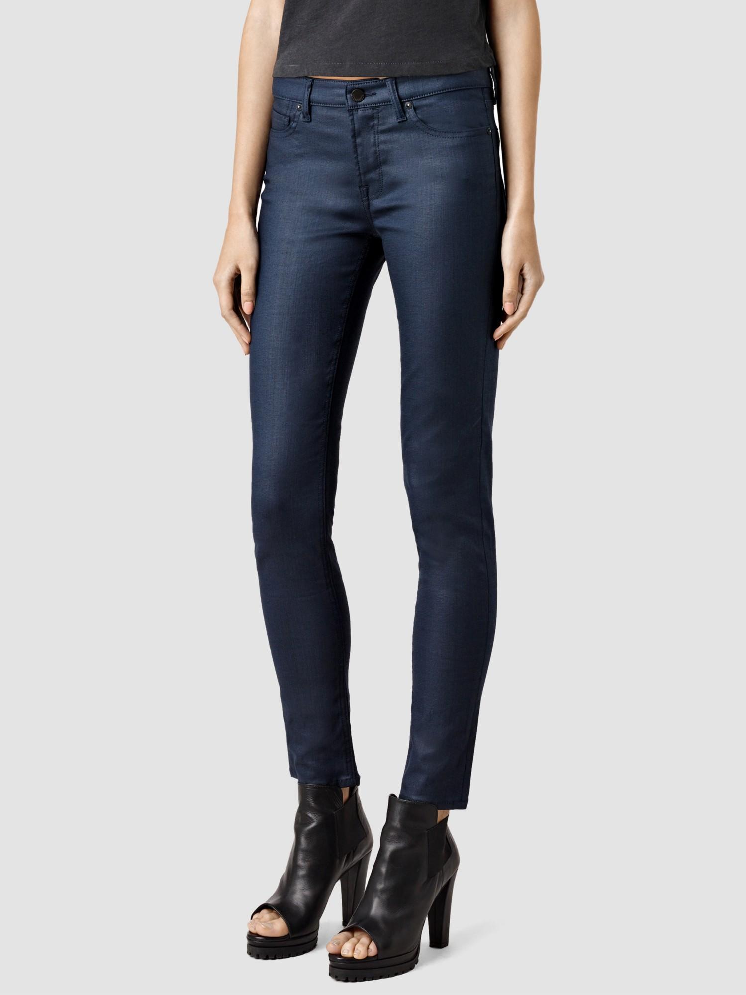 Navy coated skinny jeans