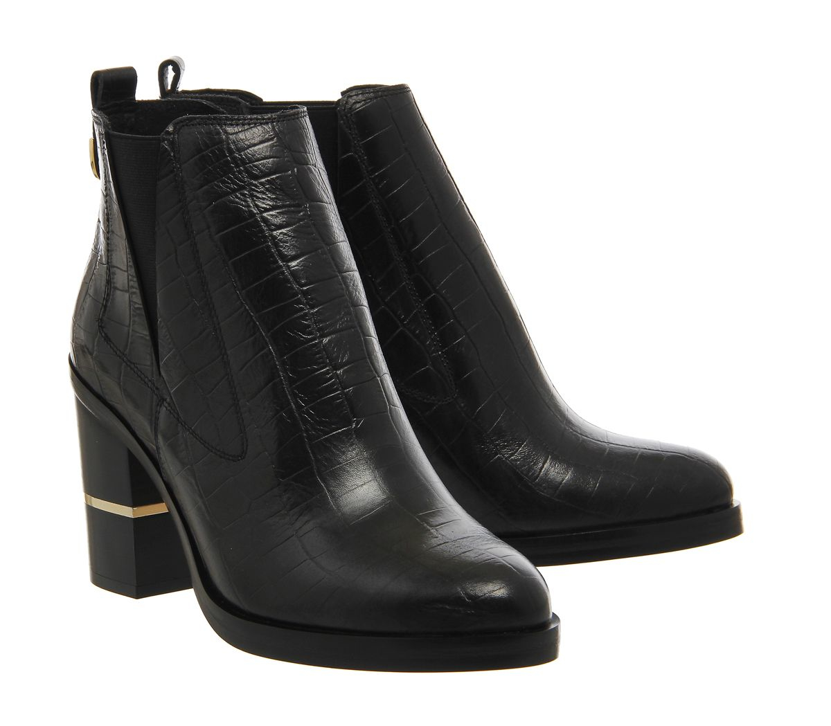 office illusion block heel chelsea boots in black lyst