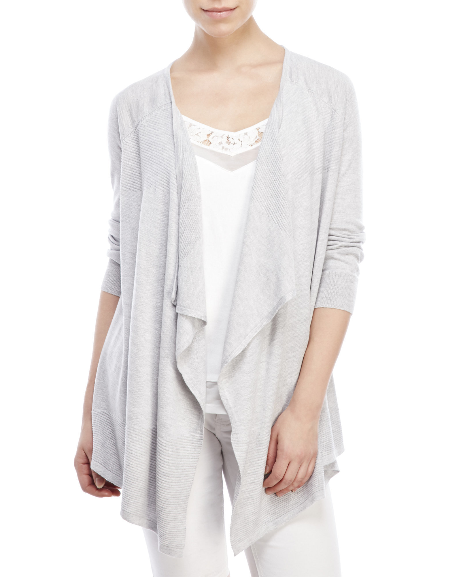 Lyst - Cable & Gauge Three-Quarter Sleeve Draped Cardigan in Gray