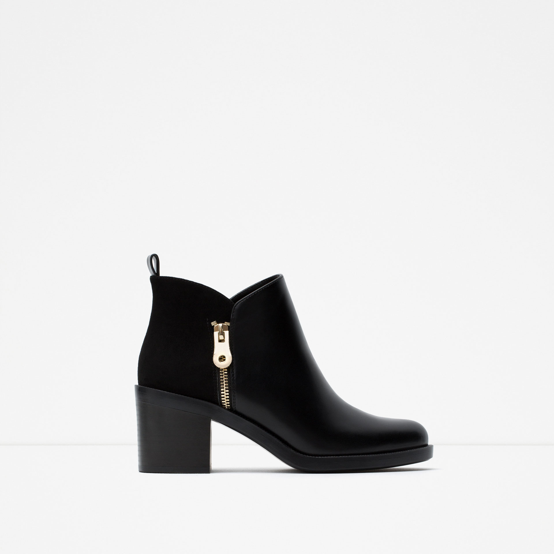 zara combined ankle boots in black lyst. Black Bedroom Furniture Sets. Home Design Ideas