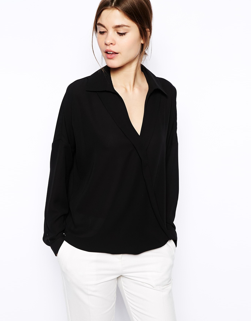 Asos Wrap Front Blouse in Black | Lyst
