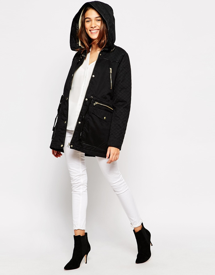 vero moda parka jacket with quilted sleeves in black lyst. Black Bedroom Furniture Sets. Home Design Ideas