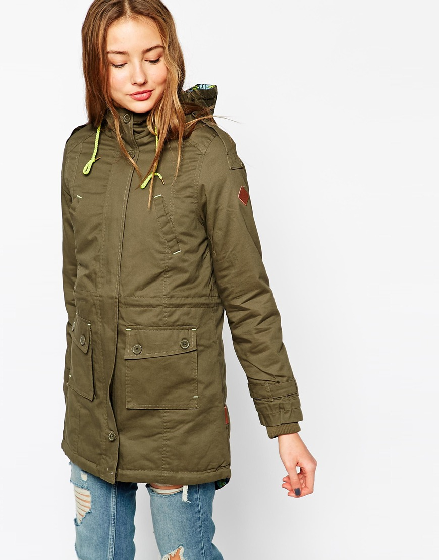 5e75dbe9c179 Lyst - Bellfield Hooded Parka Jacket With Contrast Lining in Natural