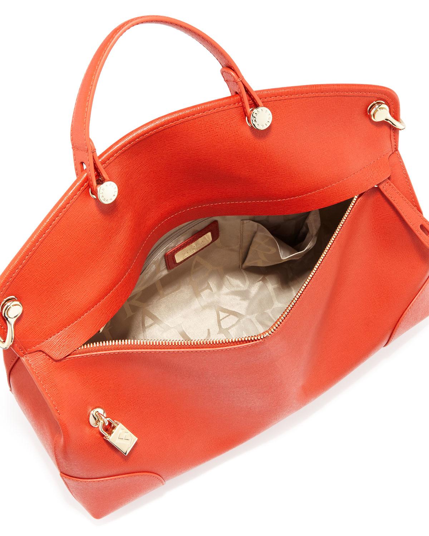 Furla Nikole Large Leather Satchel Bag in Orange   Lyst