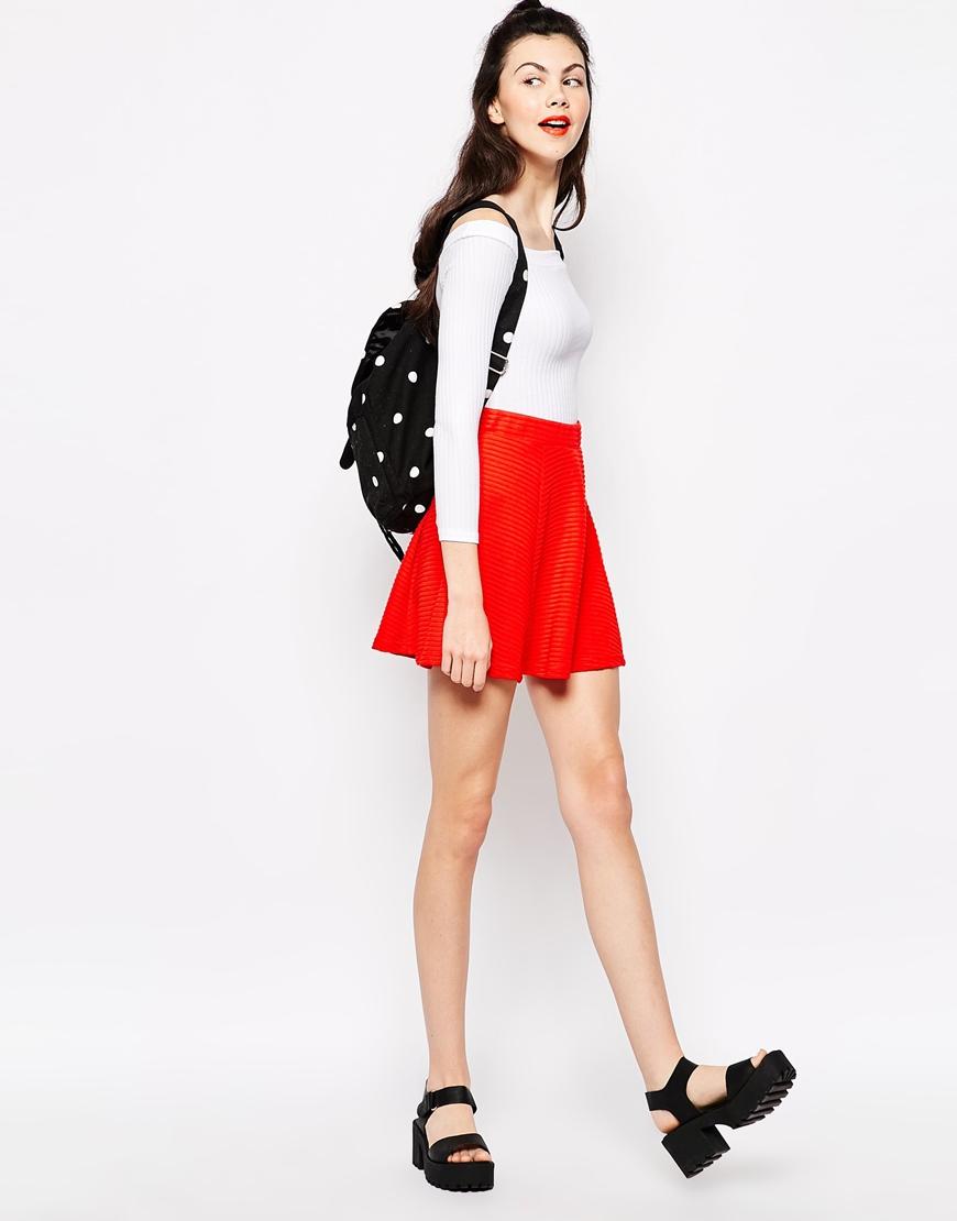 Monki Mini Skater Skirt in Red | Lyst
