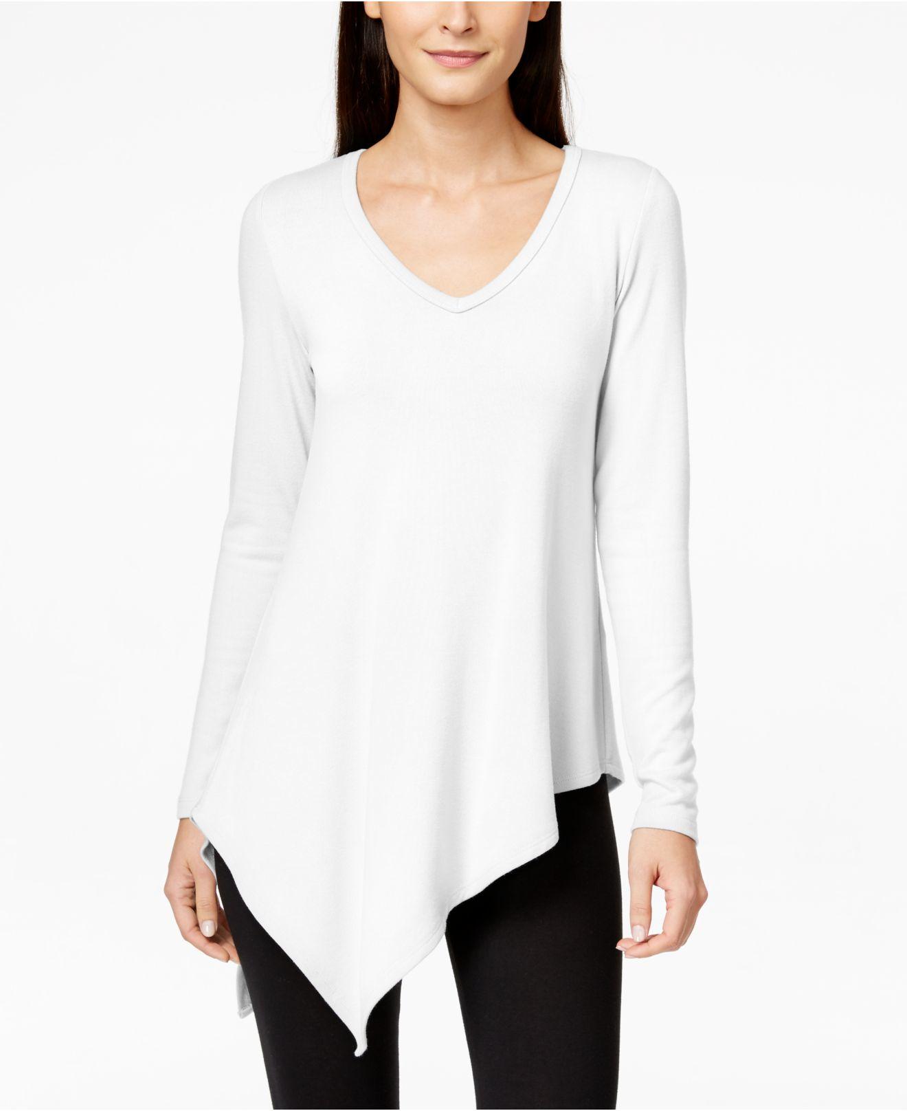 Karen kane Long-sleeve Asymmetrical Tunic Sweater in White | Lyst