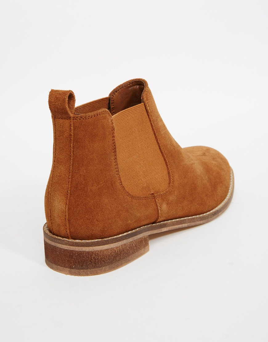 Asos America Suede Chelsea Ankle Boots in Brown | Lyst