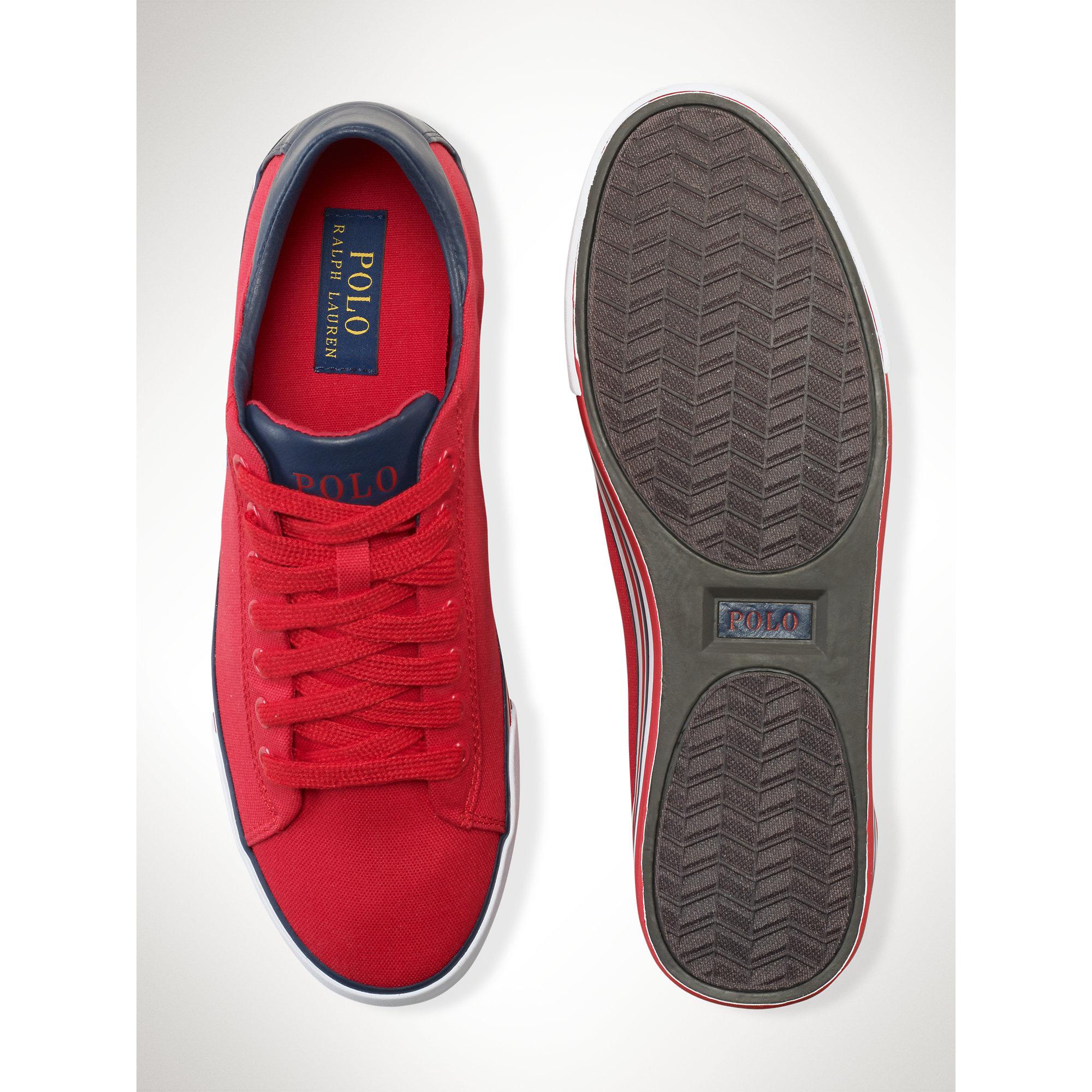825160d8b56c Lyst - Polo Ralph Lauren Canvas Harvey Sneaker in Red for Men