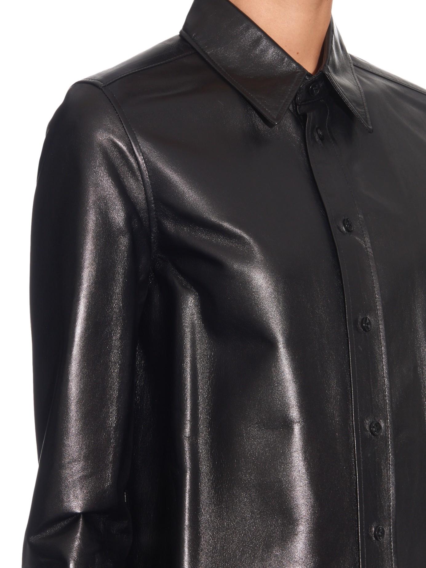 Saint laurent long sleeved leather shirt in black lyst for Saint laurent shirt womens