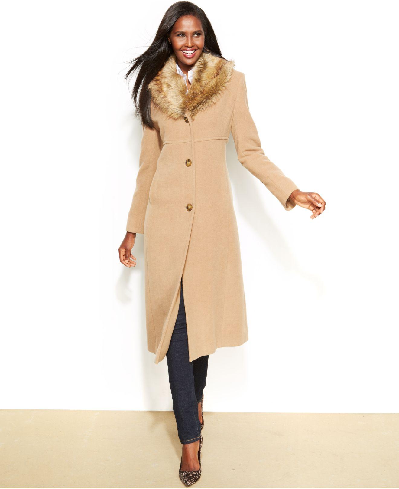 Jones new york Faux-Fur-Collar Wool-Cashmere-Blend Coat in Natural ...