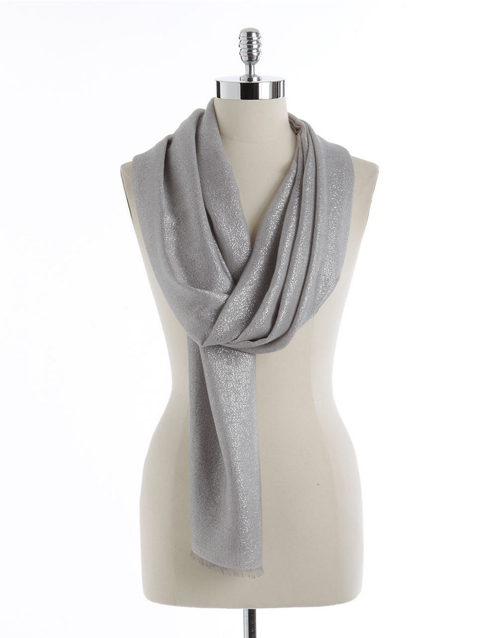lord shimmer frayed scarf in metallic lyst