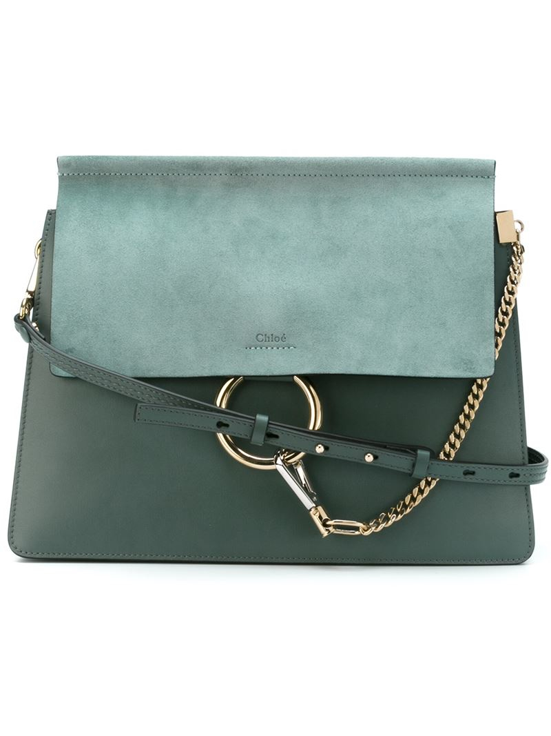 f523eb3ce76 Chloé Faye Leather Shoulder Bag in Green - Lyst