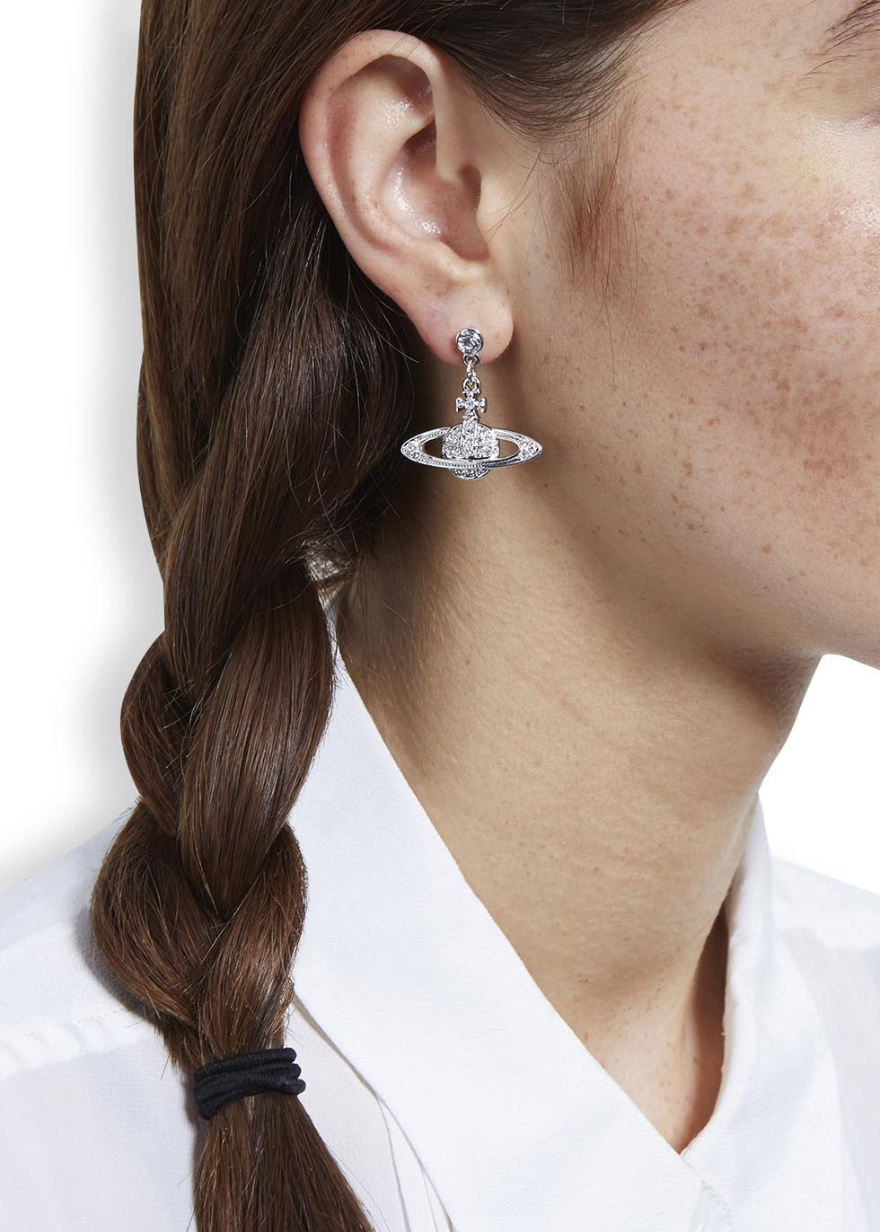 d8fb77bf810bfe Vivienne Westwood Mini Bas Relief Silver Tone Orb Earrings in ...