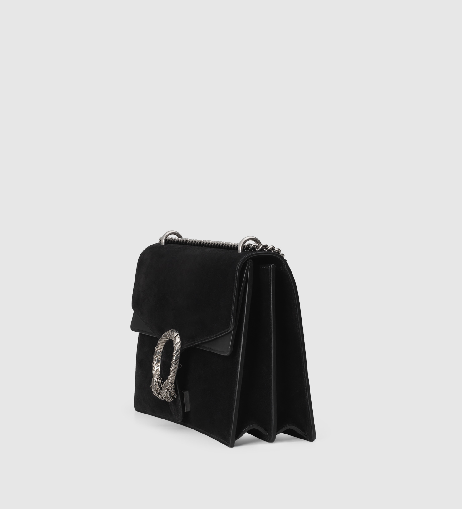 9e7cfd8256ca Gucci Dionysus Large Leather-trimmed Suede Shoulder Bag in Black - Lyst