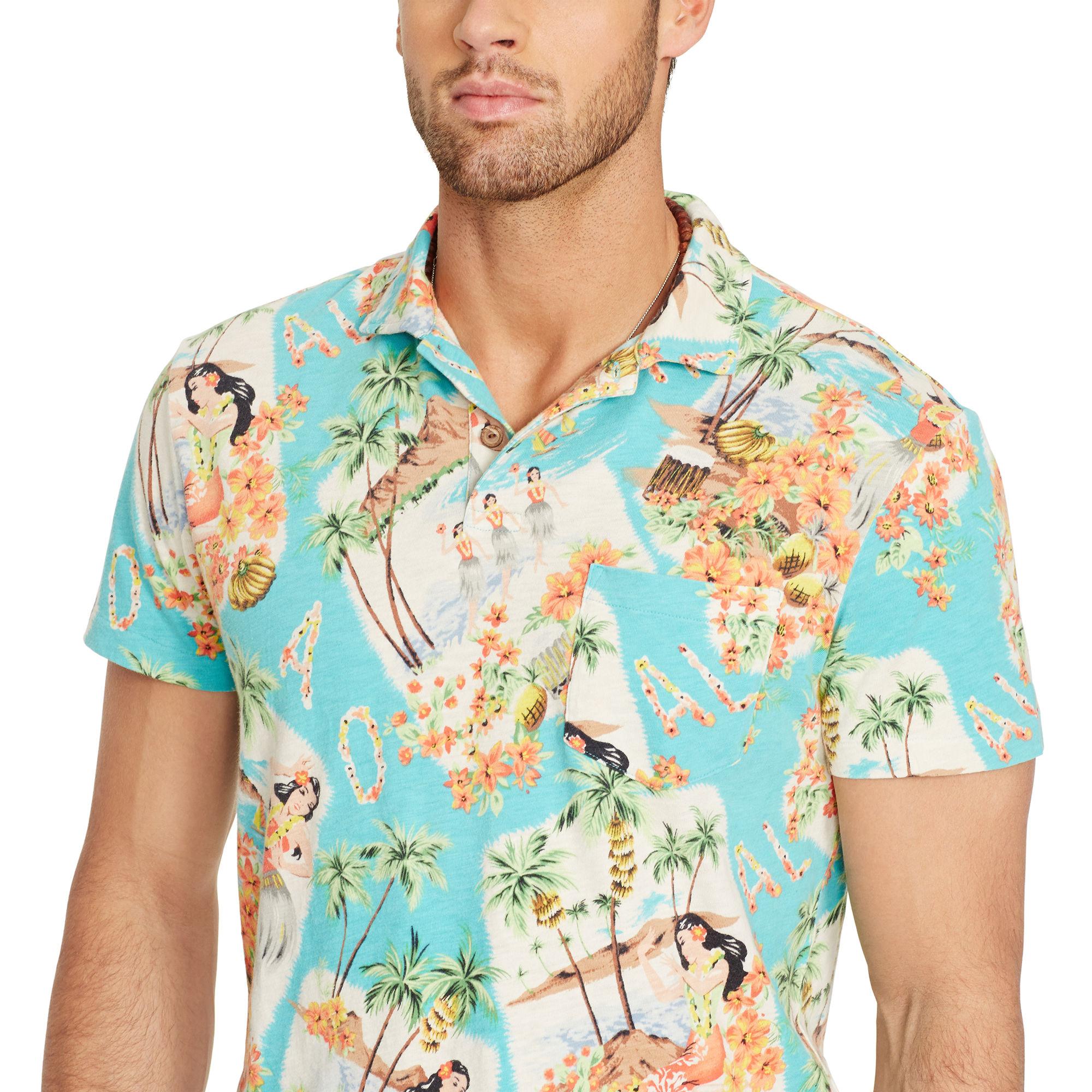 95fb5edb ... spain polo ralph lauren hawaiian estate polo shirt in blue for men lyst  f3912 22026