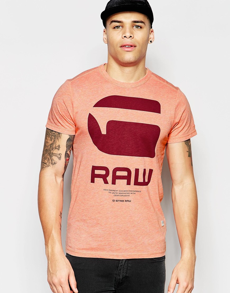 27f7a57baa5 Lyst - G-Star RAW T-shirt Resap Crewneck G Raw Logo Print In Red ...