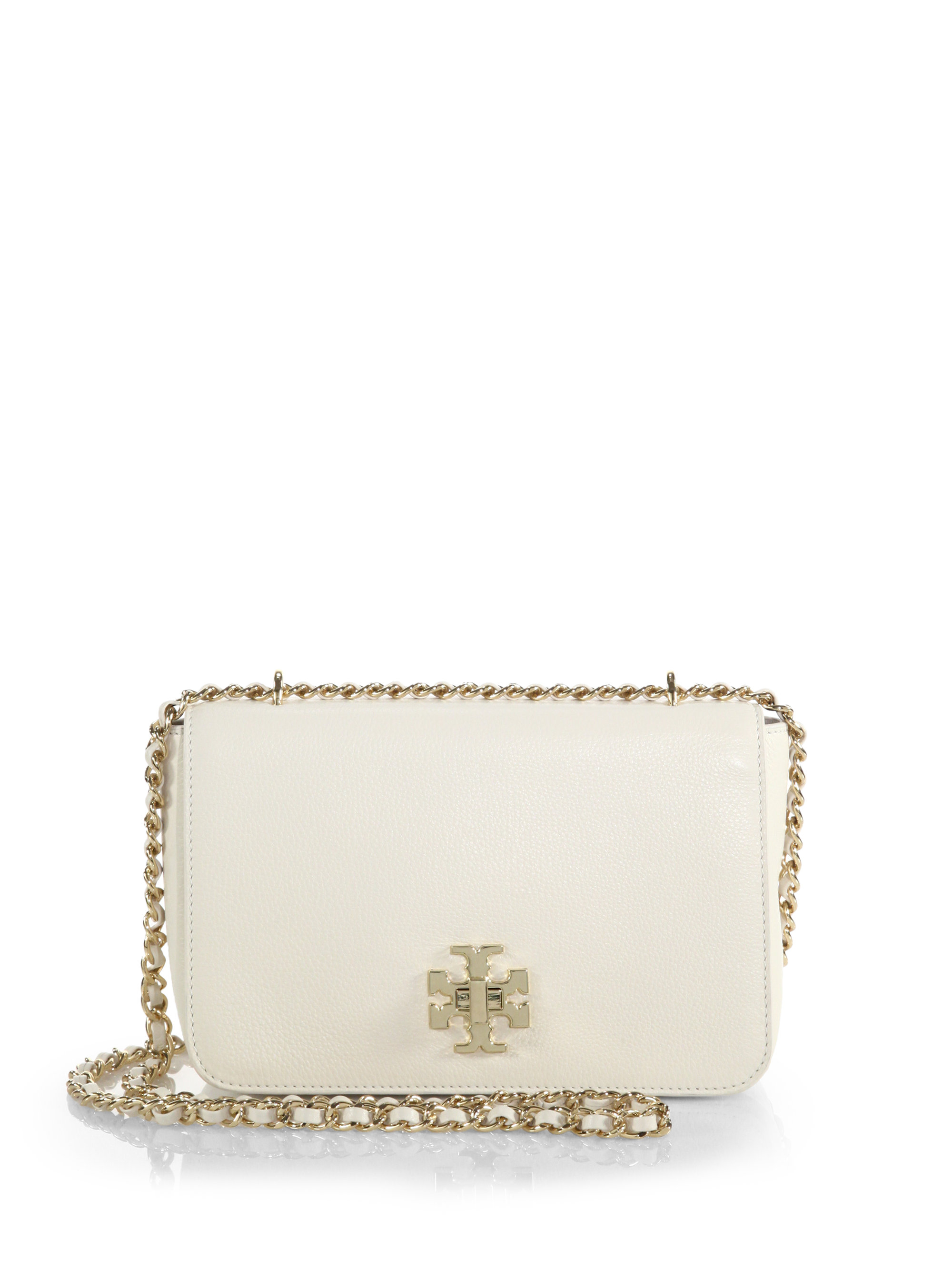eb88ae61e Lyst - Tory Burch Mercer Pebbled-leather Chain Shoulder Bag in White