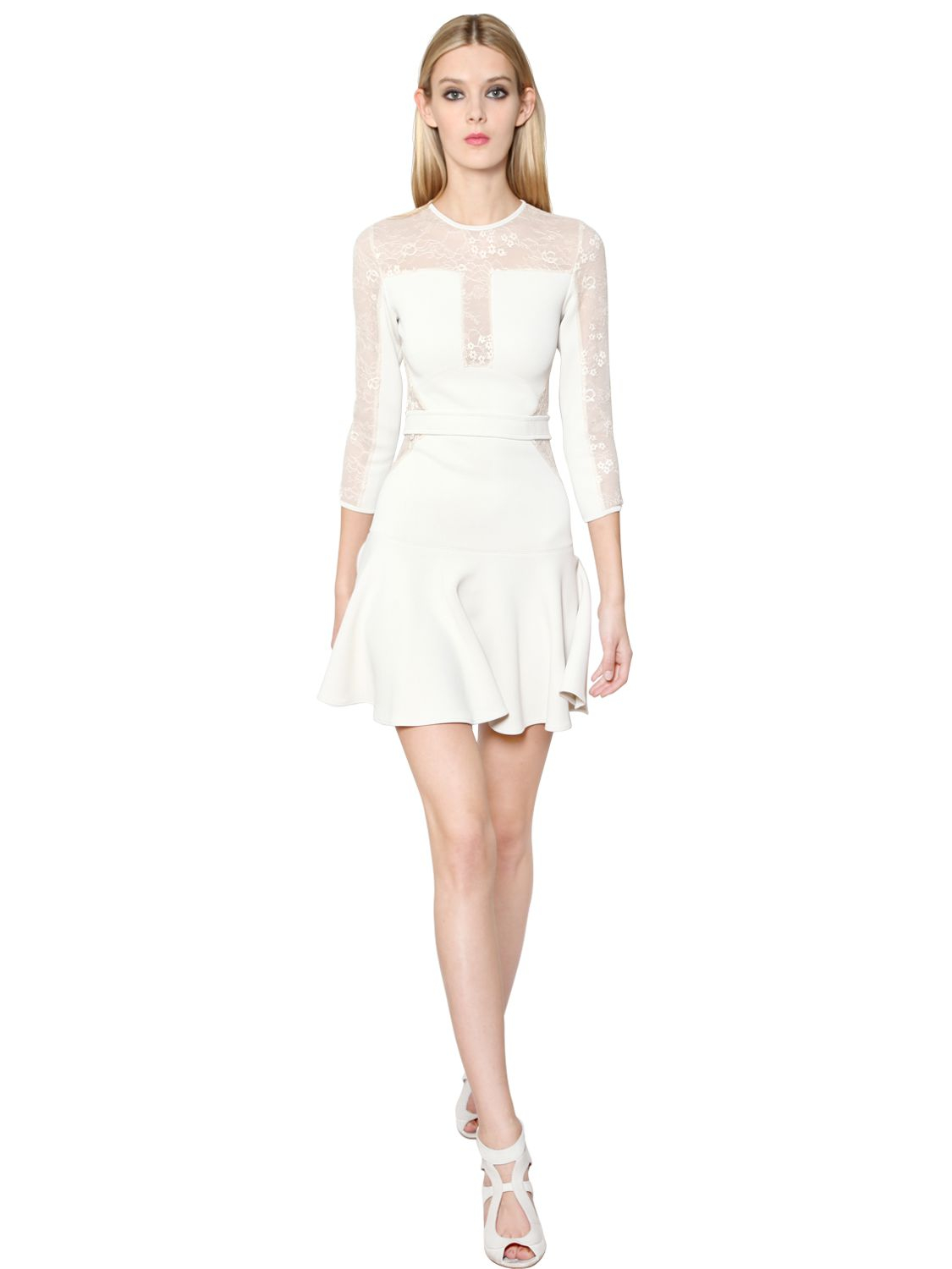 Lyst - Elie Saab Jasmine Knit and Lace Dress in White