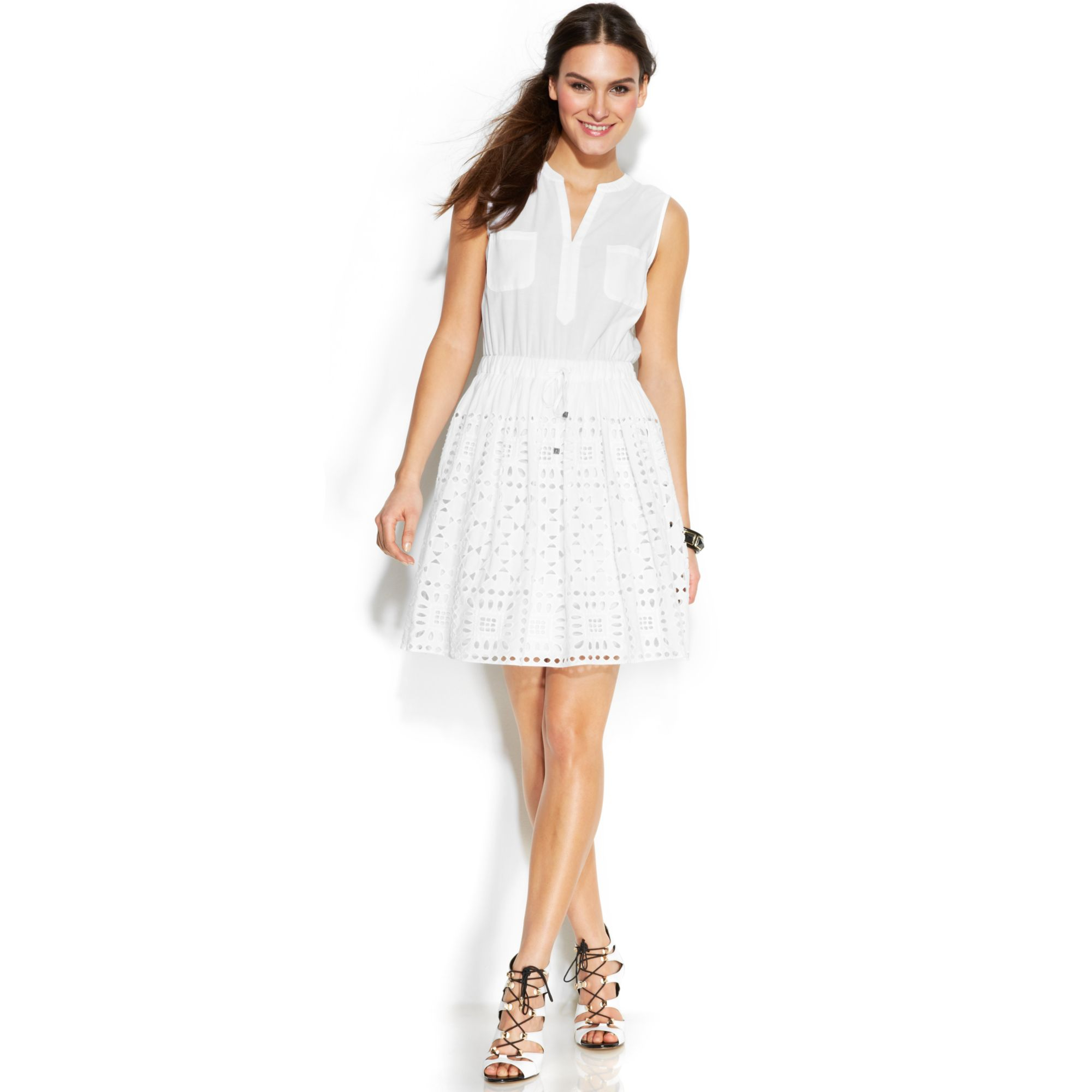 Vince Camuto Two By Sleeveless Eyelet Cotton Dress In