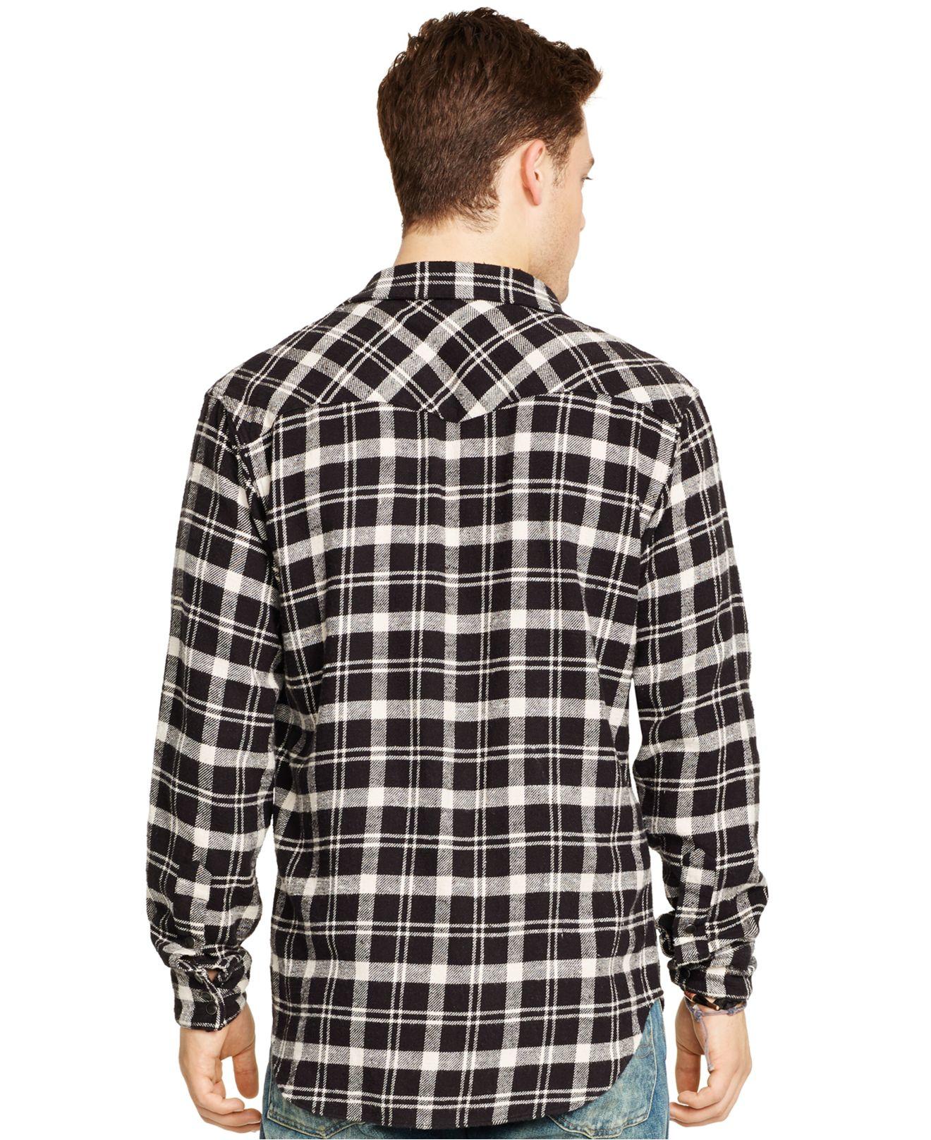 Polo ralph lauren buffalo plaid western shirt in black for for Buffalo plaid men s shirt