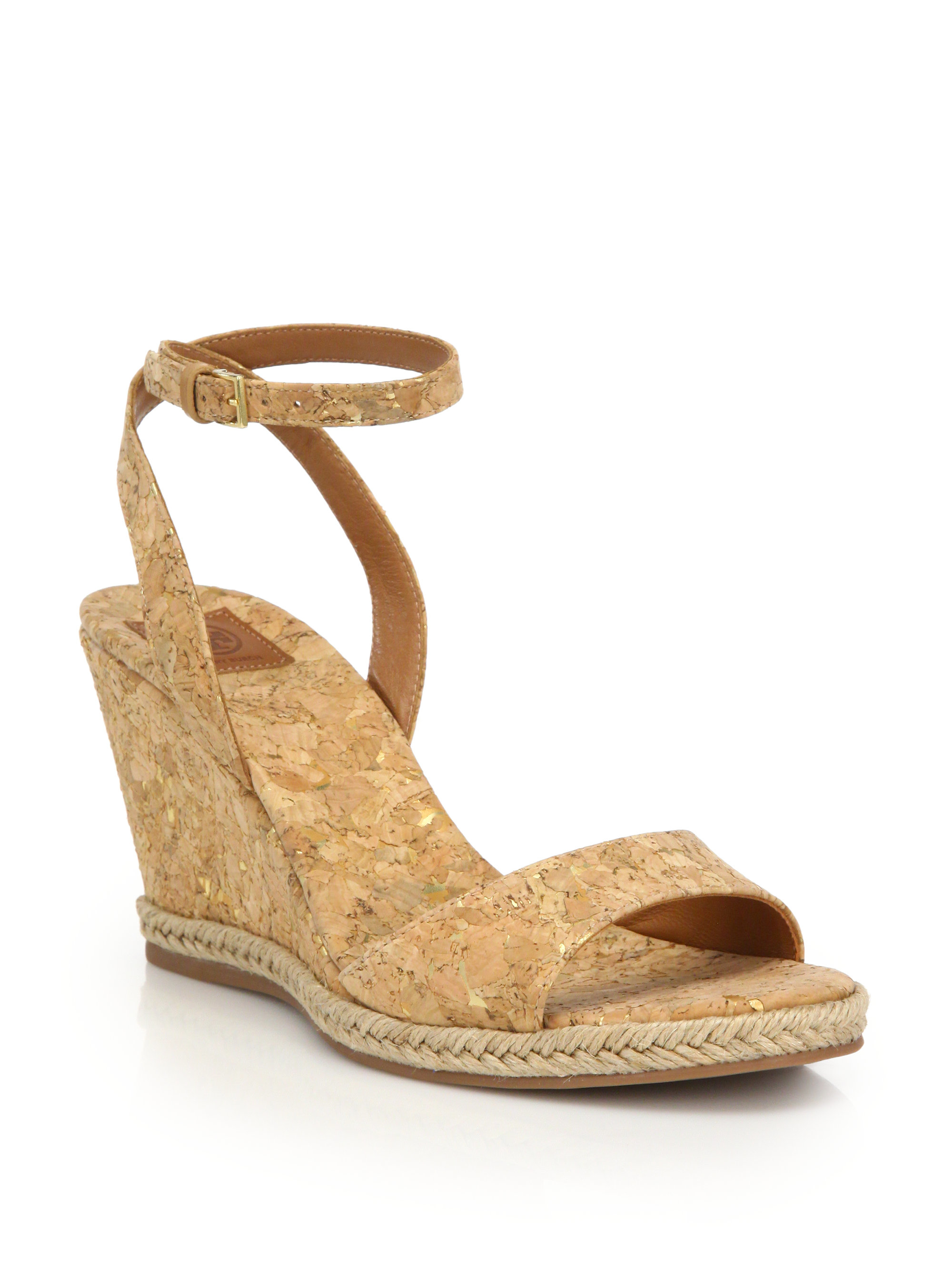 9534be779019 Lyst - Tory Burch Marion Cork Wedge Sandals in Natural