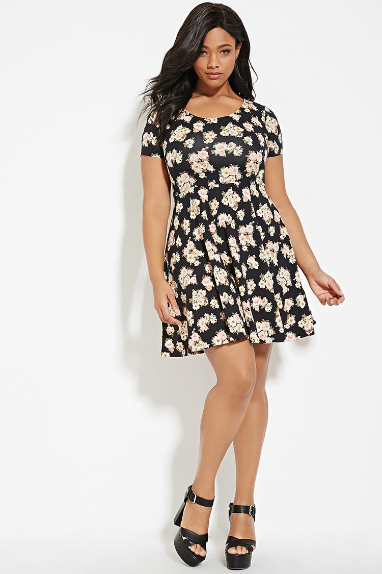cdeff29e2b7 Lyst - Forever 21 Plus Size Floral Print Dress in Black