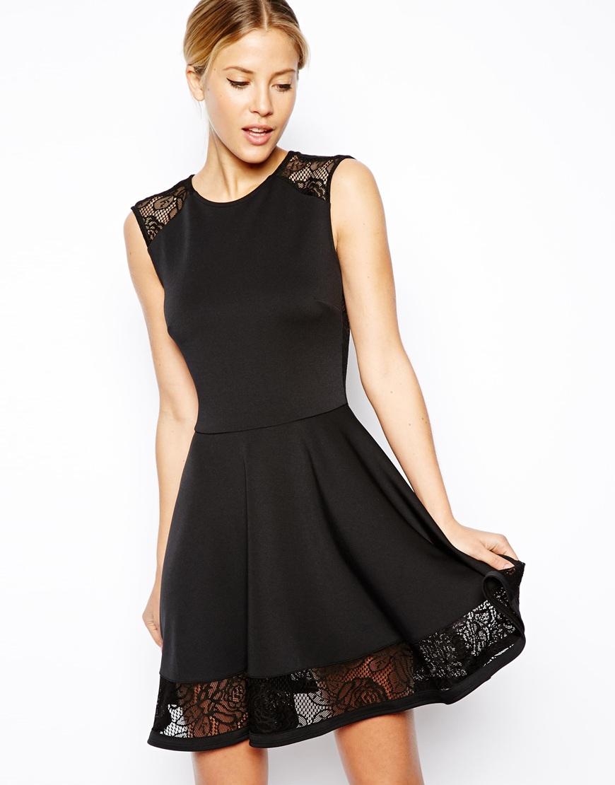 lyst asos lace insert skater dress in black. Black Bedroom Furniture Sets. Home Design Ideas