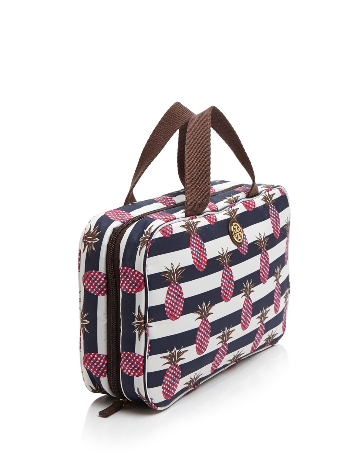 0b3462eb768 Tory Burch Cosmetic Case - Printed Nylon Pineapple Stripe Hanging ...