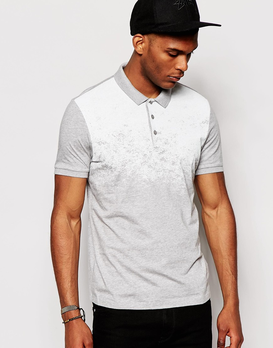 Lyst Asos Polo Shirt In Jersey With Yoke Print In Gray