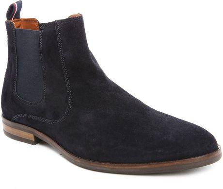 tommy hilfiger blue dalton 18b suede chelsea boots for. Black Bedroom Furniture Sets. Home Design Ideas