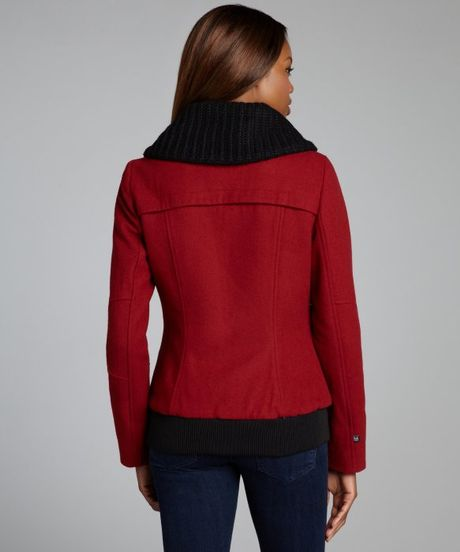 Soia & Kyo Red Wool Blend Pippa Knit Collar Jacket in Red