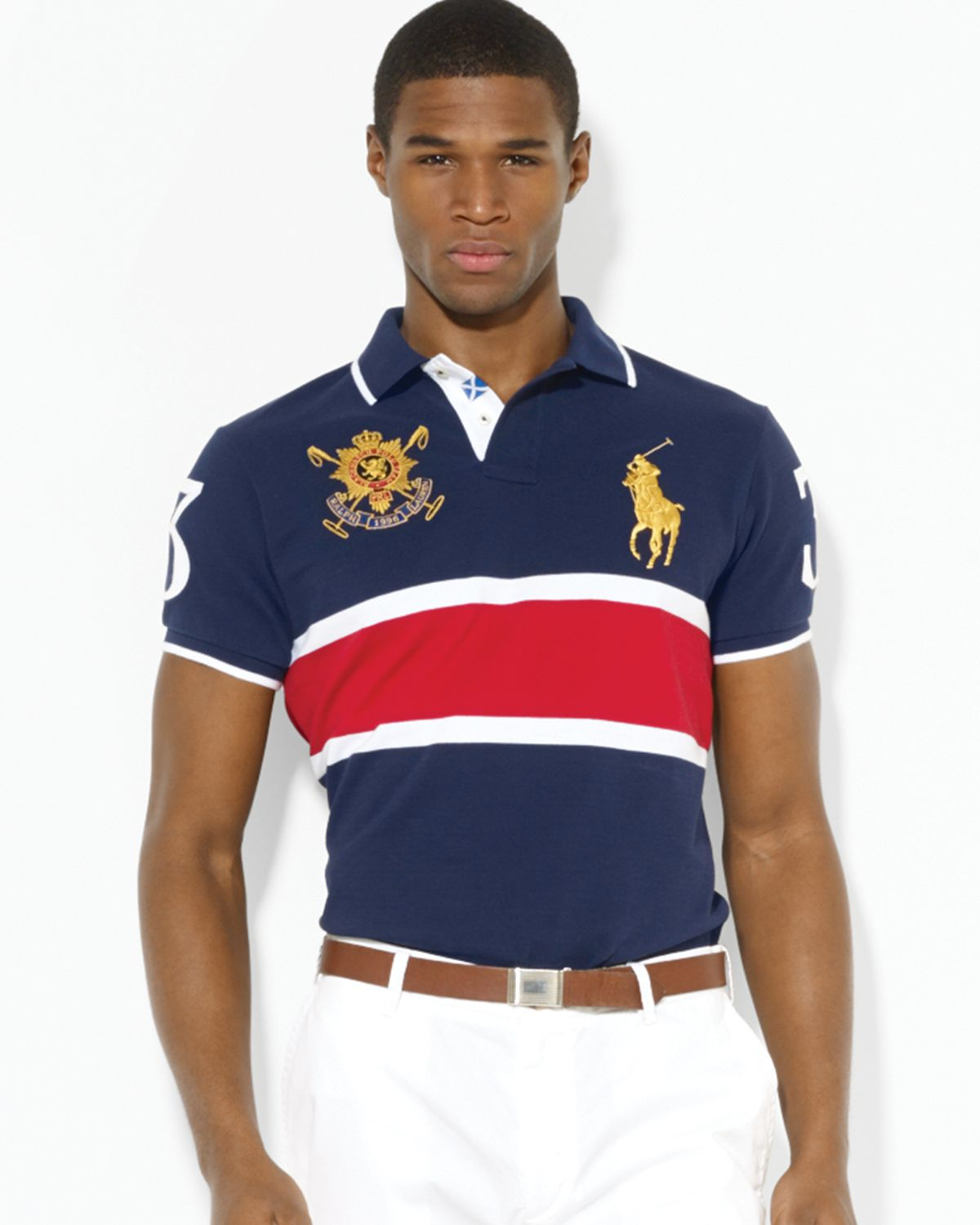 34642def3396 Ralph Lauren Polo Black Watch Customfit Polo Shirt in Red for Men (French  Navy)