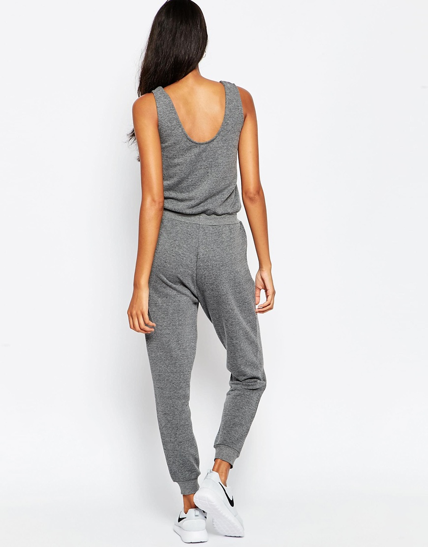 26a5ab3d7aca Lyst - ASOS Casual Vest Jumpsuit With Draw String Waist in Gray