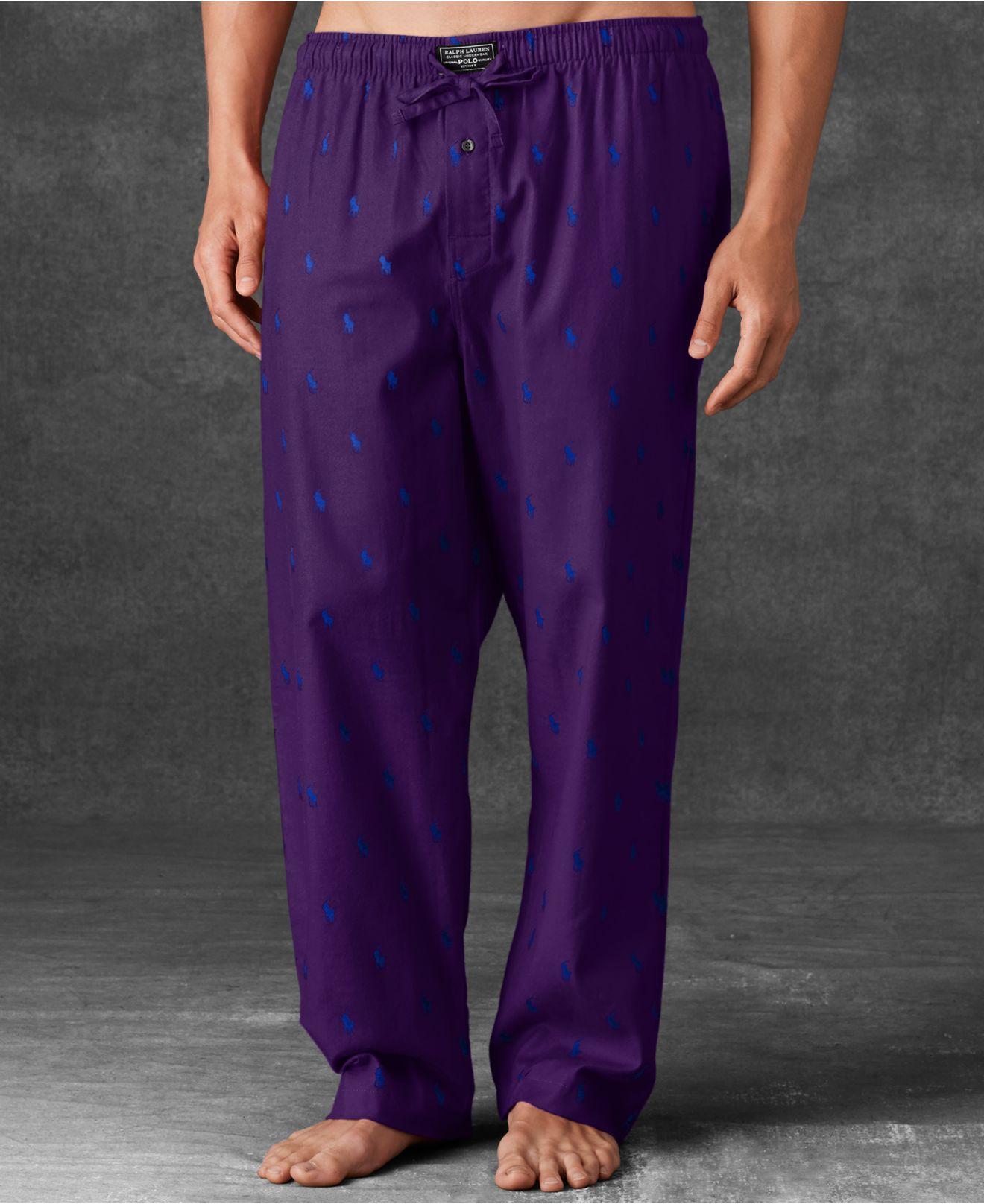 a1e903ad83a Lyst - Polo Ralph Lauren Men S Allover Polo Player Woven Pajama ...