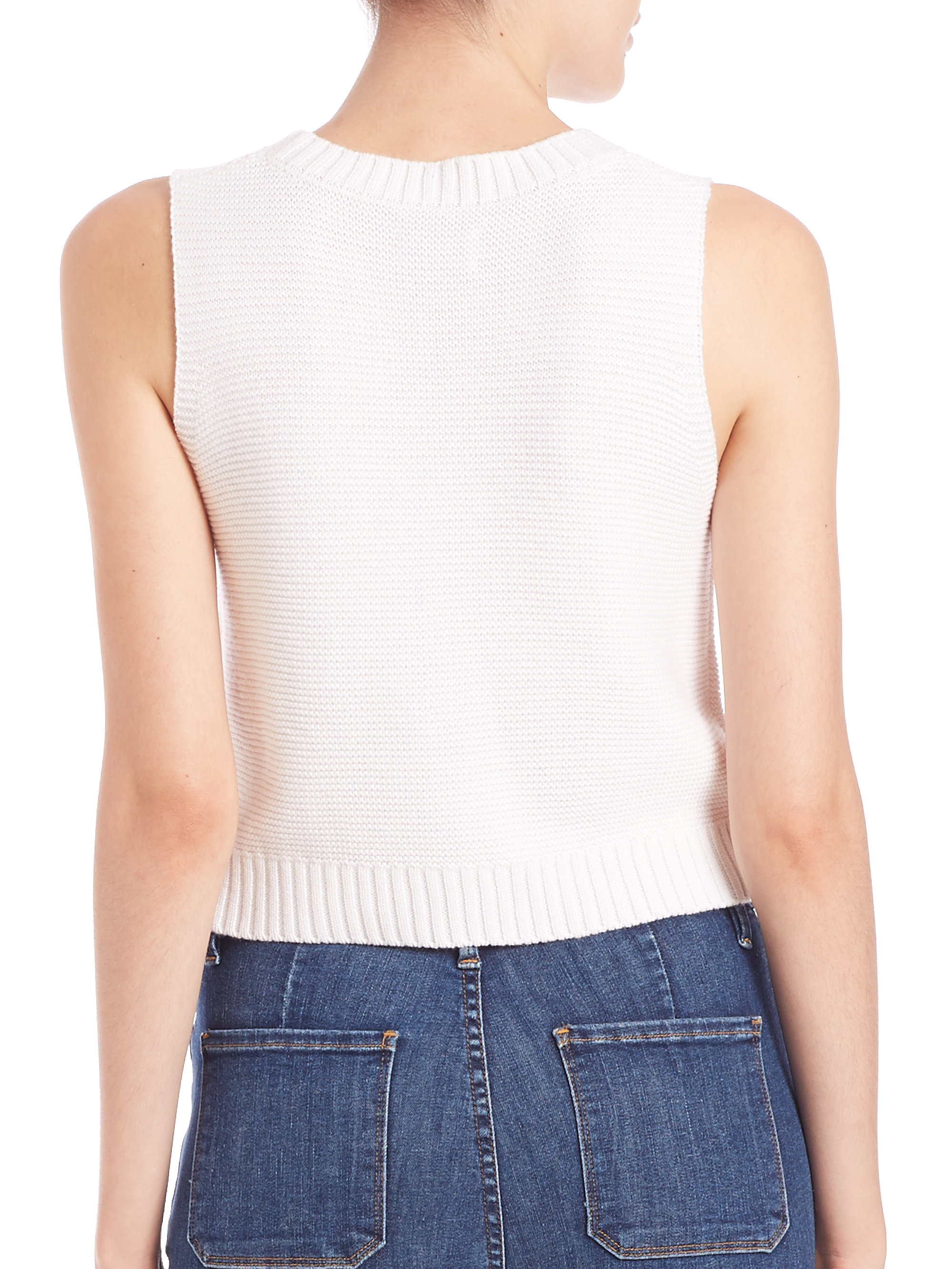 Frame Le Cropped Cotton/silk/cashmere Sleeveless Sweater in ...