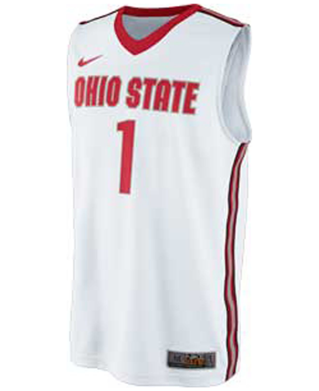 Nike men 39 s ohio state buckeyes basketball jersey in white for Ohio state shirts mens