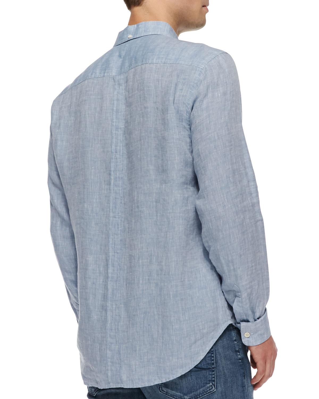 7 for all mankind linen button down shirt in blue for men for Mens light blue linen shirt