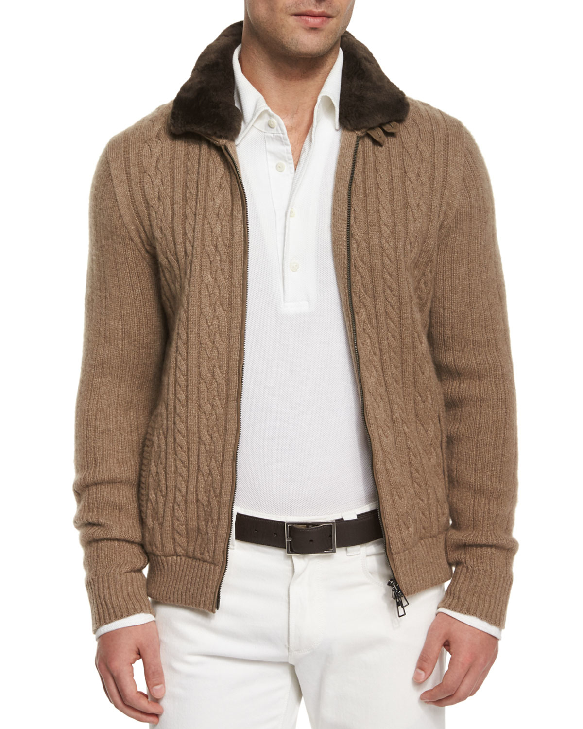 Lyst Loro Piana Cable Knit Cashmere Bomber Jacket In