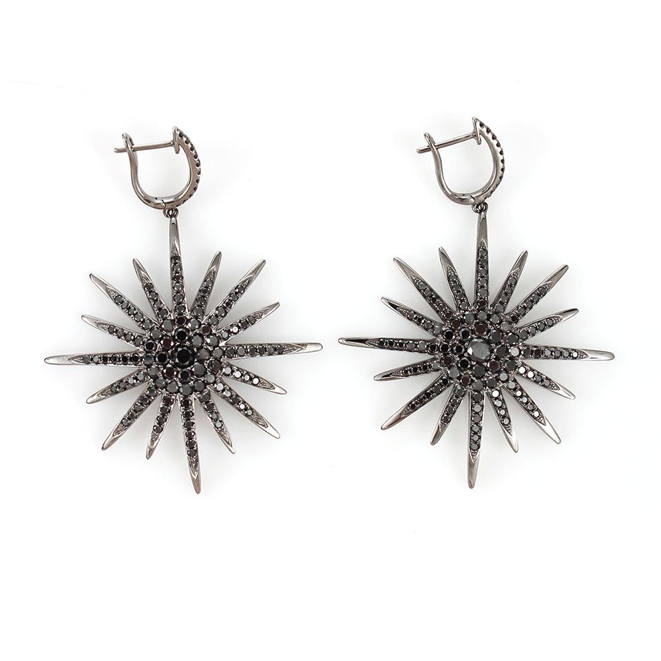 Bochic Black Diamond Starburst Earrings In Black Lyst