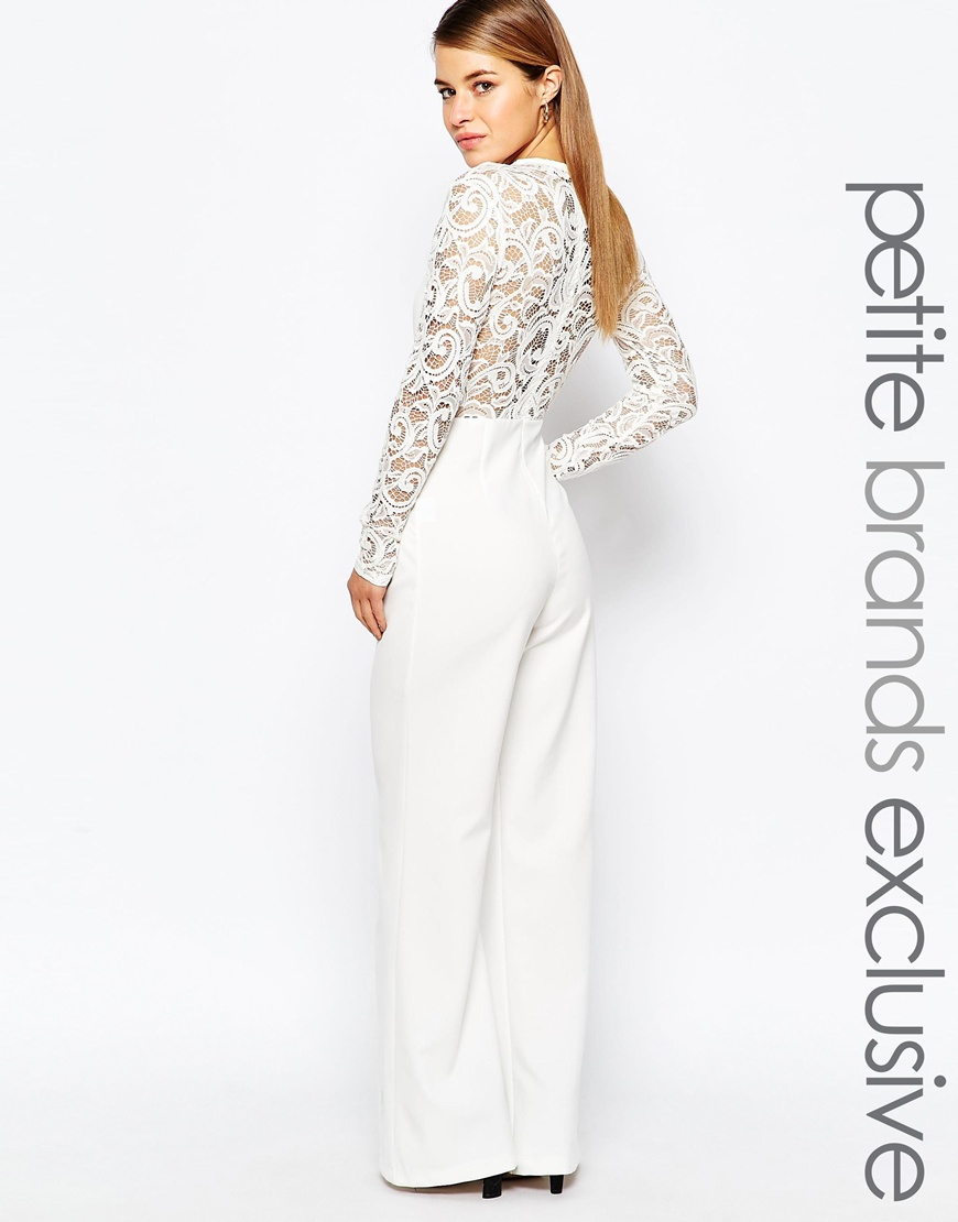 1812bd27a3e Lyst - John Zack Lace Sleeve And Back Detail Jumpsuit in White