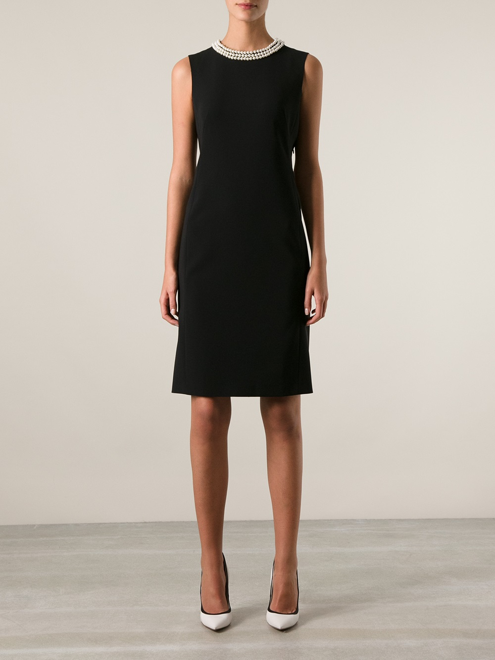 Lyst Moschino Faux Pearl Detail Dress In Black