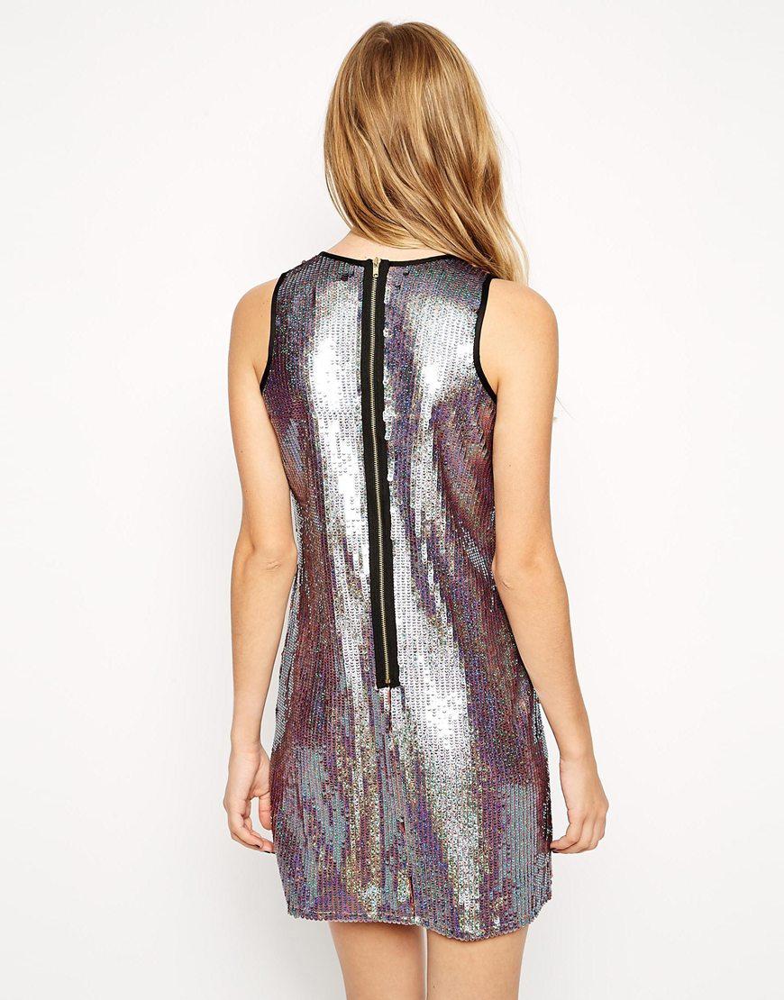 Lyst Asos Iridescent Sequin Dress In Metallic